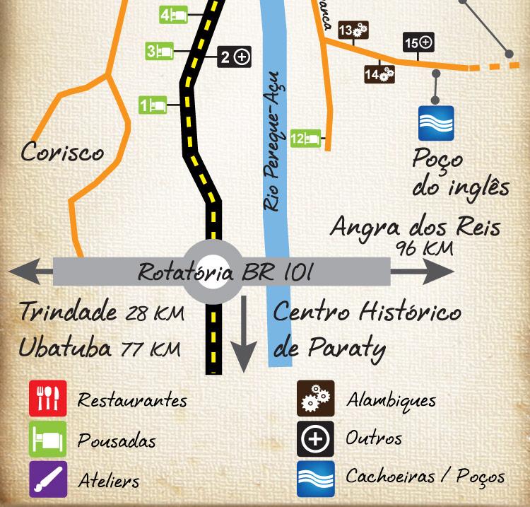Mapa do Circuito Caminho do Ouro em Paraty, RJ